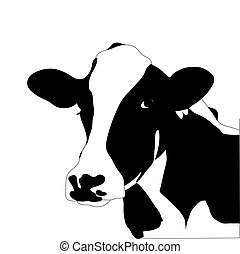 корова, большой, вектор, черный, портрет, белый