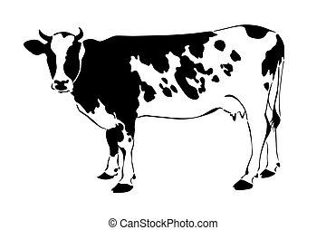 корова, силуэт