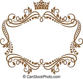 королевский, рамка, цветы, корона, ретро