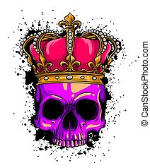 корона, человек, иллюстрация, roses, смерть, вектор, череп
