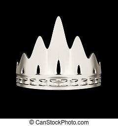 корона, isolated, дизайн, задний план, черный, серебряный