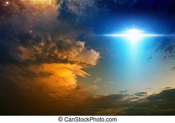 космический корабль, инопланетянин, закат солнца, aliens, небо, красный, пылающий