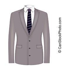 костюм, в полоску, серый, галстук, человек