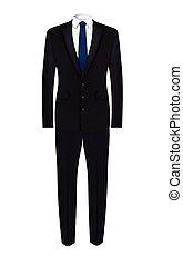 костюм, черный, галстук, синий, человек
