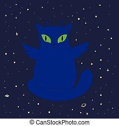 кот, isolated., wings, пространство, веселая, инопланетянин, большой, зеленый, антенна, eyes