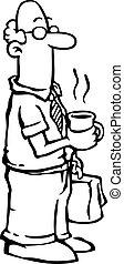 кофе, бизнес, /, наемный рабочий, having, человек