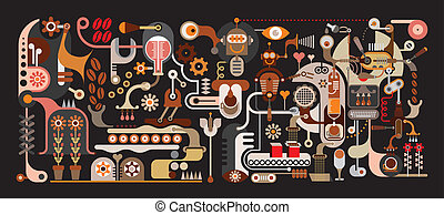 кофе, завод, иллюстрация, вектор
