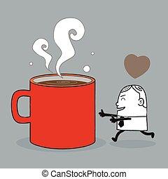 кофе, люблю, бизнес, человек