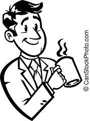 кофе, мультфильм, бизнес, человек