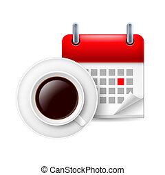 кофе, объявление, календарь, кружка