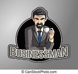 кофе, enjoying, бизнес, человек