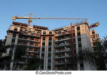 кран, здание, строительство