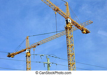 кран, промышленные, skyscrapers, строить