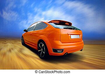красивая, автомобиль, спорт, дорога, оранжевый