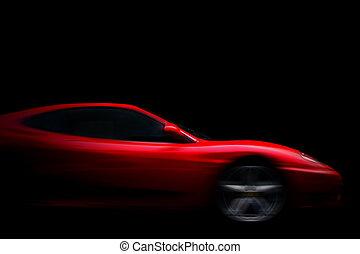 красивая, автомобиль, спорт, черный, красный