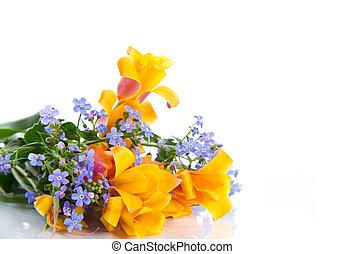 красивая, весна, цветы, букет