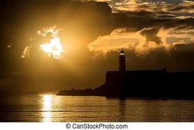красивая, вибрирующий, над, небо, океан, воды, спокойный, lightho, восход