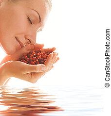 красивая, воды, strawberries, rendered, девушка