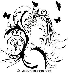 красивая, волосы, девушка, цветы