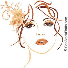 красивая, волосы, lilies, женщина