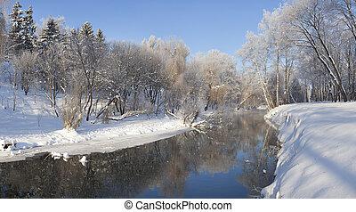 красивая, город, парк, зима, пейзаж