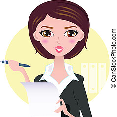 красивая, женщина, бизнес, isolated, желтый, ручка, задний план