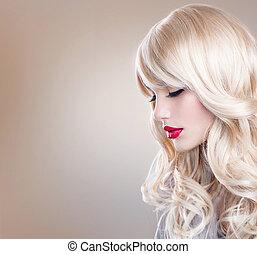 красивая, женщина, длинные волосы, волнистый, portrait., блондин, блондинка, девушка