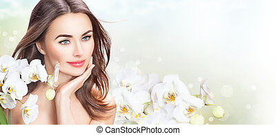 красивая, женщина, ее, красота, лицо, flowers., трогательный, спа, девушка, орхидея