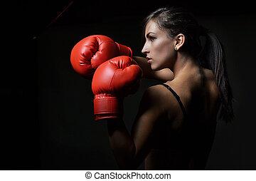 красивая, женщина, заниматься боксом