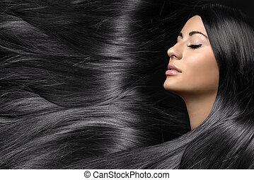 красивая, женщина, здоровый, молодой, длинные волосы, блестящий