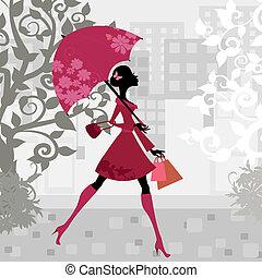 красивая, женщина, зонтик