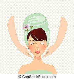 красивая, женщина, лицо, treatment., портрет, спа, having