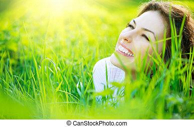 красивая, женщина, природа, весна, молодой, на открытом воздухе, enjoying
