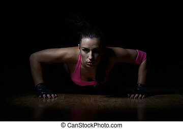 красивая, женщина, фитнес, за работой, вне