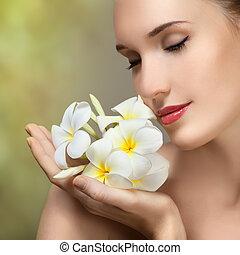 красивая, женщина, flower., красота, молодой, лицо