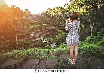 красивая, женщина, island., бали, поле, принятие, sunrise., photos, в течение, рис