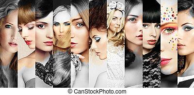 красивая, женщины, faces, коллаж