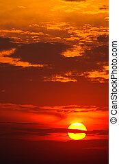 красивая, закат солнца, красный