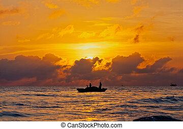 красивая, закат солнца, море