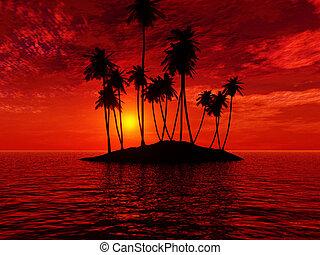 красивая, закат солнца