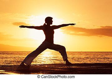 красивая, закат солнца, силуэт, женщина, йога