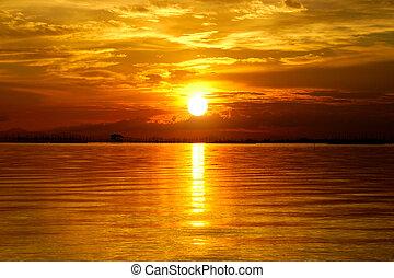 красивая, золотой, clouds, sky., закат солнца, twilight.