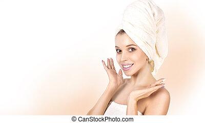 красивая, идеально, женщина, ее, face., после, молодой, ванна, girl., skin., трогательный, кожа, спа, skincare.