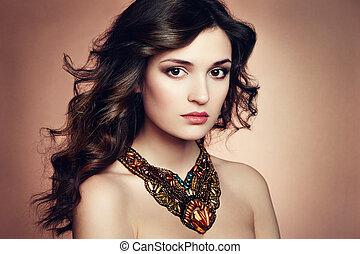 красивая, идеально, женщина, earring., фото, makeup., мода, брюнетка, портрет
