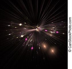красивая, иллюстрация, деформироваться, магия, большой, абстрактные, блеск, частицы, space., background., bokeh, lines., бах, путешествие, время, sparkles., звезда, взрыв