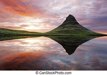 красивая, исландия, пейзаж, гора