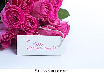 красивая, карта, розовый, mothers, roses, таблица, белый, день, букет, счастливый