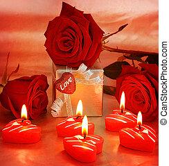 красивая, коробка, подарок, сердце, &, roses