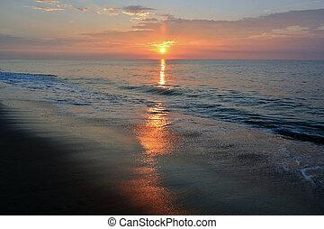 красивая, лето, пляж, восход, утро