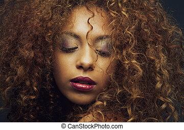 красивая, мода, американская, женский пол, африканец, модель